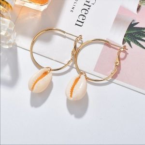 Cowrie Shell Gold Hoop Earrings